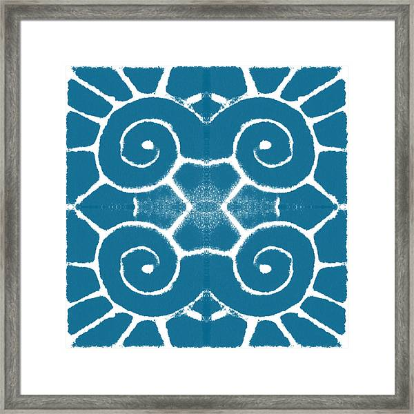 Blue And White Wave Tile- Abstract Art Framed Print