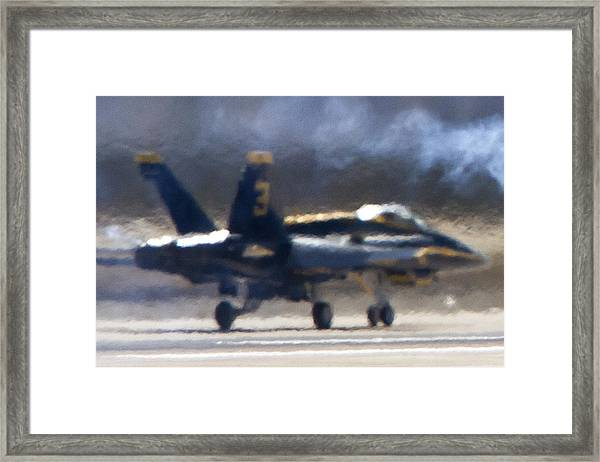 Blue Angels Number 3 On The Runway Framed Print