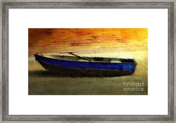 Framed Print featuring the painting Blue Boat At Sunset by Sandra Bauser Digital Art