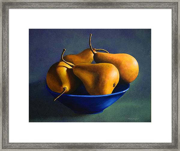 Blue Bowl With Four Pears Framed Print