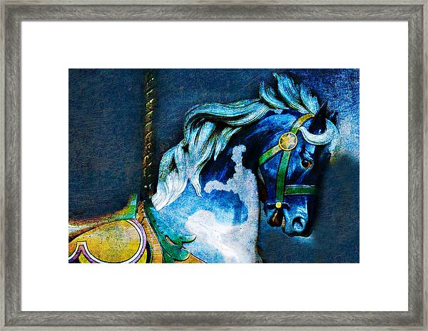 Blue Carousel Horse Framed Print
