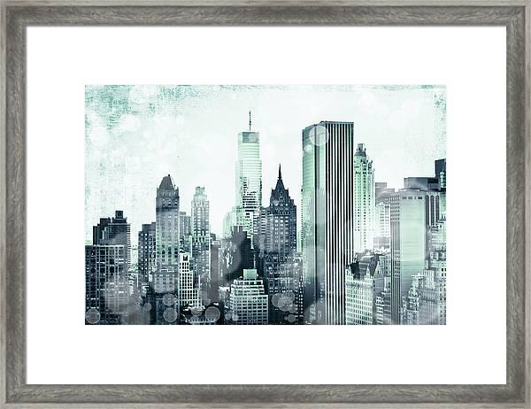 Blue City Beams Framed Print