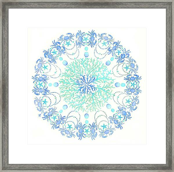 Blue Crab Mandala 5 Framed Print
