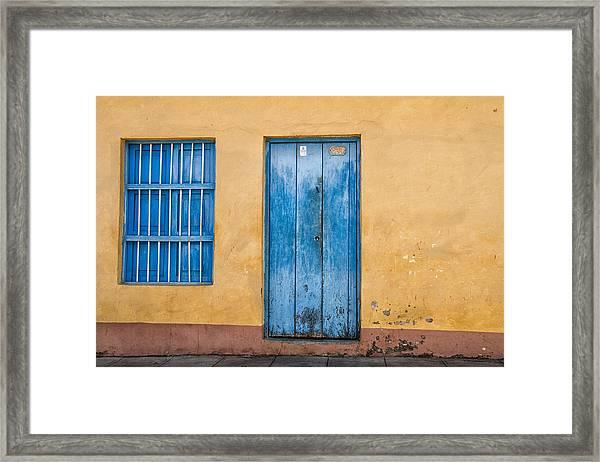 Blue Door And Window Framed Print