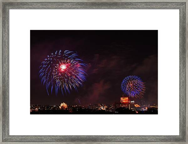 Blue Fireworks Over Domino Sugar Framed Print