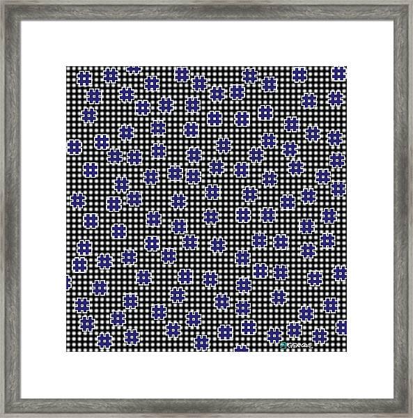 Blue Floating Squares Framed Print