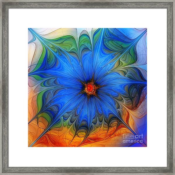 Blue Flower Dressed For Summer Framed Print