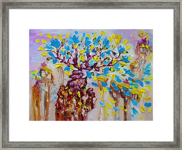 Blue Flower Painting Tree Art Oil On Canvas By Ekaterina Chernova Framed Print