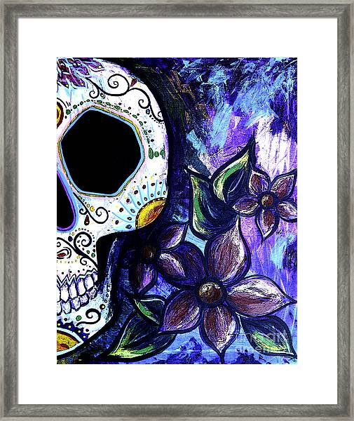 Blue Flower Skull Framed Print