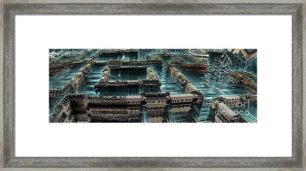 Blue Future City Framed Print by Bernard MICHEL