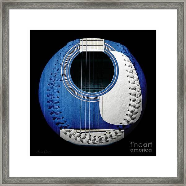 Blue Guitar Baseball White Laces Square Framed Print