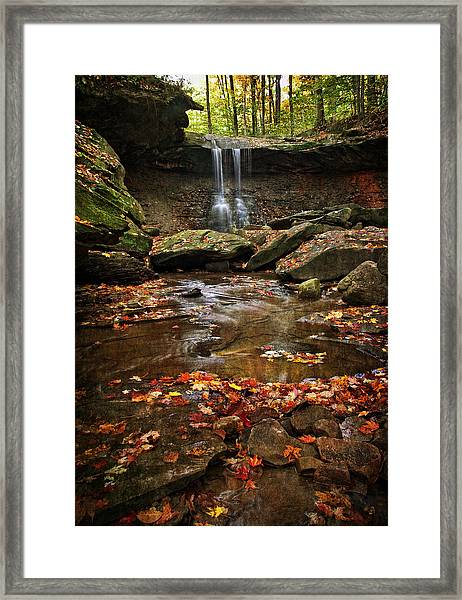 Blue Hen Falls In Autumn Framed Print