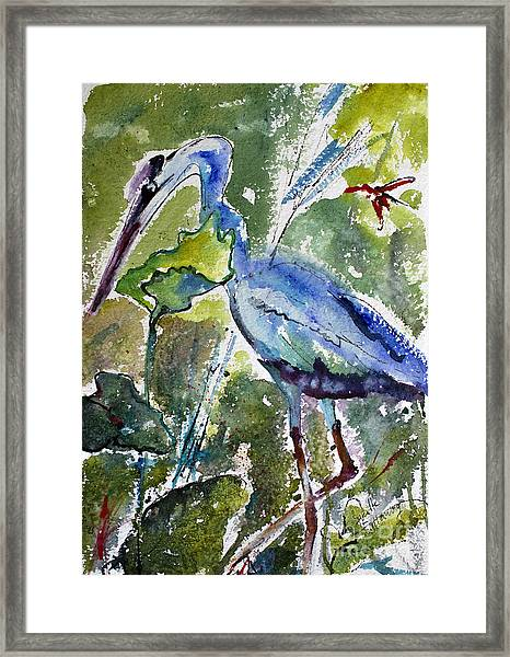 Blue Heron Stalking Watercolor Framed Print