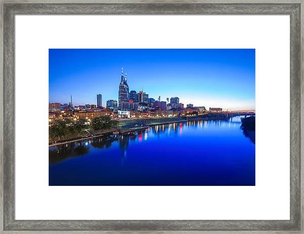 Blue Hour Over Nashville Framed Print