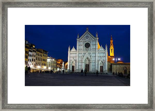 Blue Hour - Santa Croce Church Florence Italy Framed Print