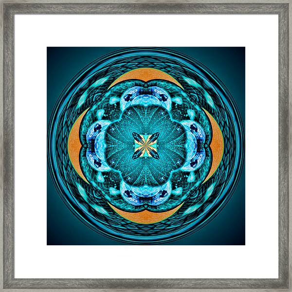 Framed Print featuring the photograph Blue Leaf Mandala Kaleidoscope by Beth Sawickie