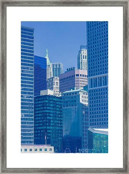 Blue Manhattan Framed Print