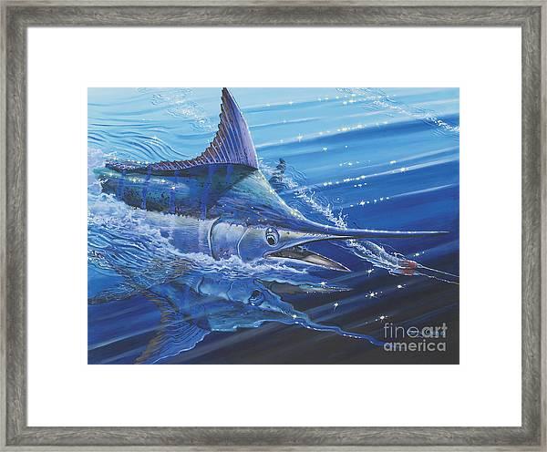 Blue Marlin Strike Off0053 Framed Print