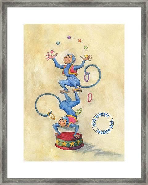 Blue Monkeys Framed Print