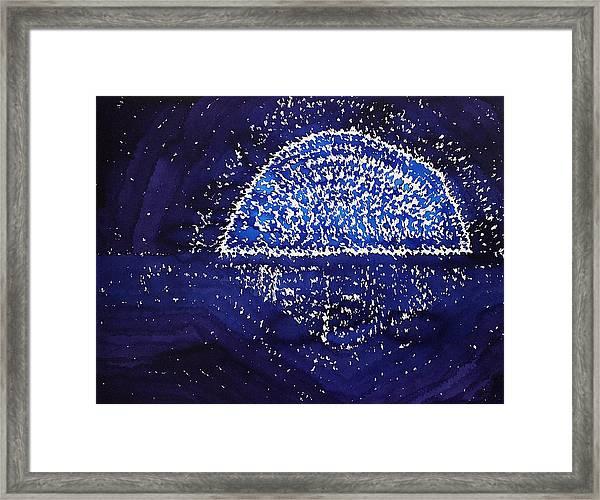 Blue Moonrise Original Painting Framed Print