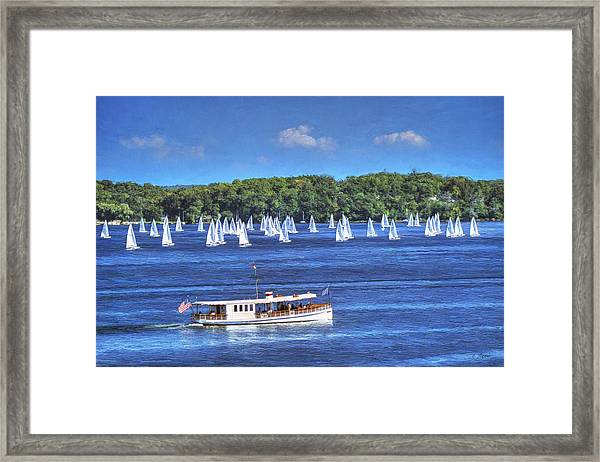 Blue Morning Cruise - Lake Geneva Wisconsin Framed Print