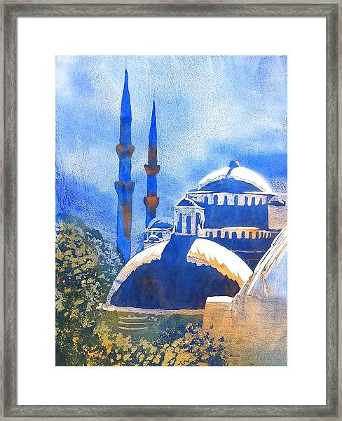 Blue Mosque In Blues Framed Print