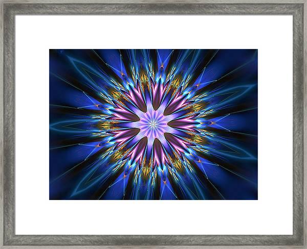 Blue Oomph Fractal Mandala Framed Print