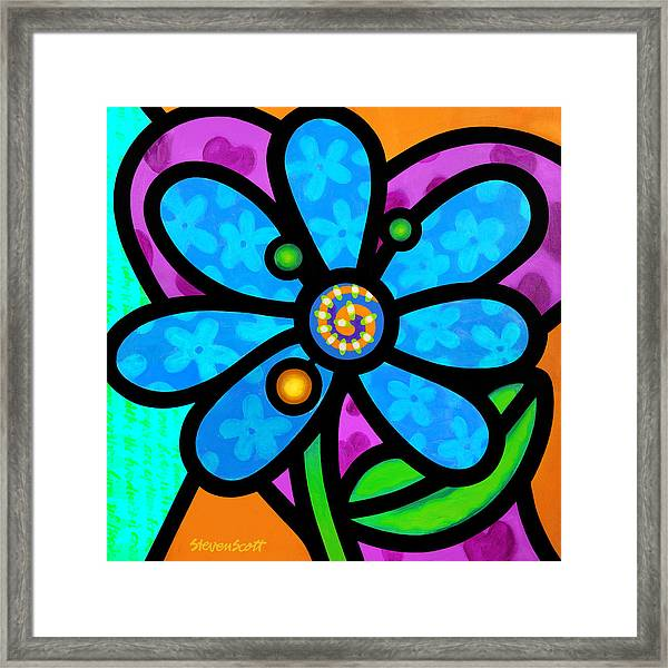 Blue Pinwheel Daisy Framed Print