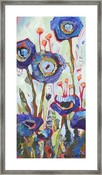 Framed Print featuring the painting Blue Poppies I by Shelli Walters