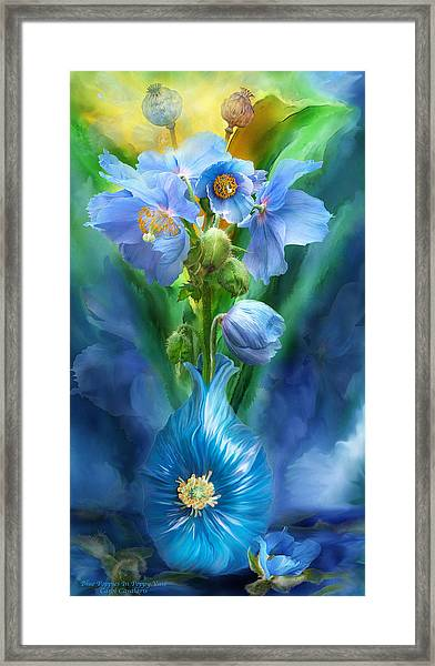 Blue Poppies In Poppy Vase Framed Print