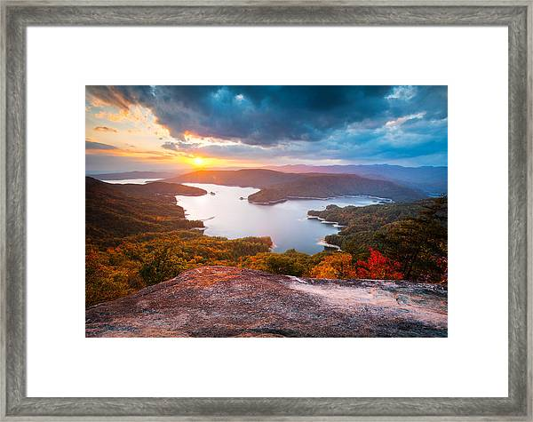 Blue Ridge Mountains Sunset - Lake Jocassee Gold Framed Print