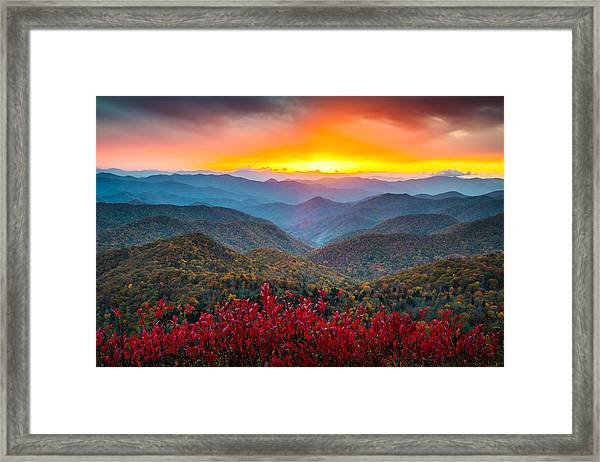 Blue Ridge Parkway Autumn Sunset Nc - Rapture Framed Print