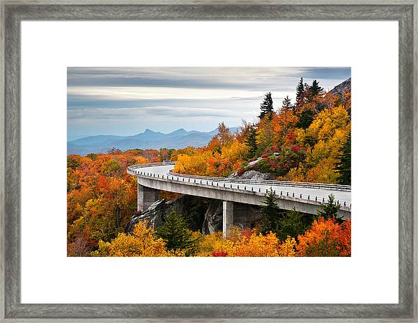 Blue Ridge Parkway Fall Foliage Linn Cove Viaduct Framed Print