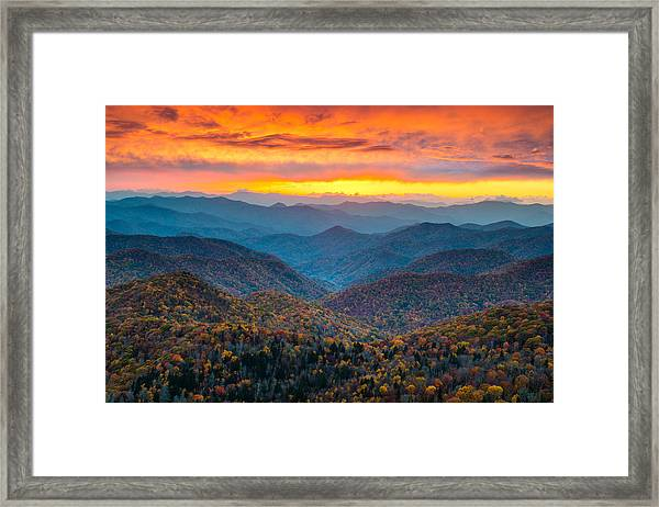 Blue Ridge Parkway Fall Sunset Landscape - Autumn Glory Framed Print