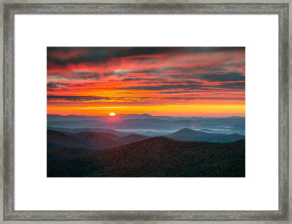 North Carolina Blue Ridge Parkway Nc Autumn Sunrise Framed Print