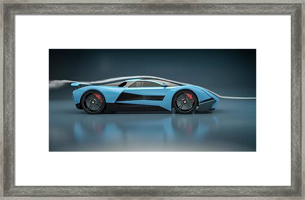 Blue Sports Car In A Wind Tunnel Framed Print