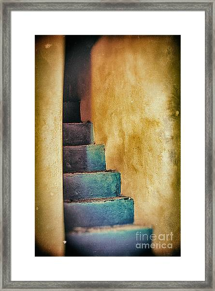 Blue Stairs - Yellow Wall    Framed Print