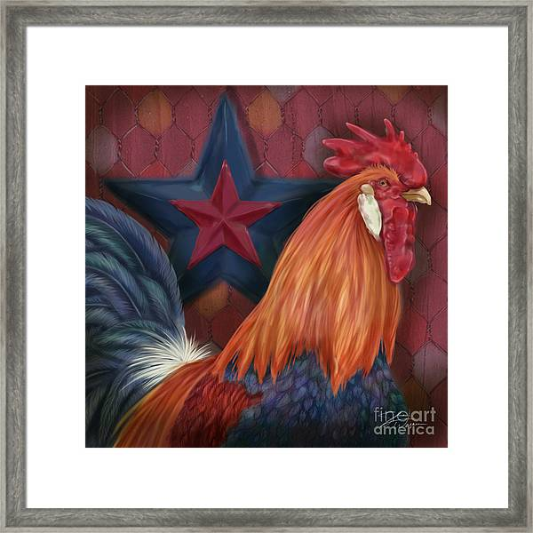 Blue Star Rooster Framed Print