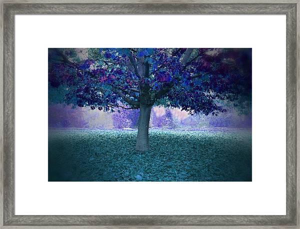 Blue Tree Monet Painting Background Framed Print