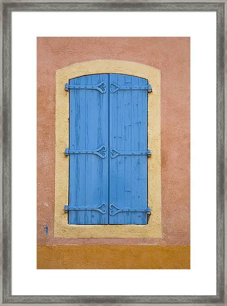 Blue Window Shutters Framed Print