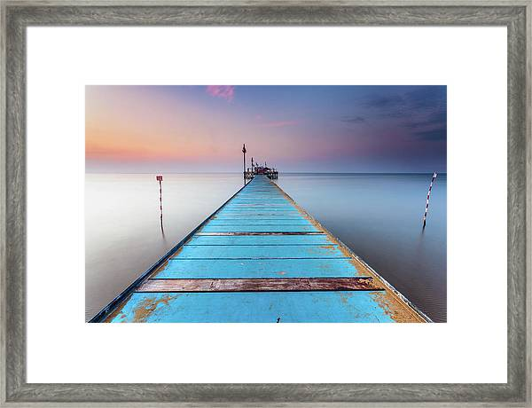 Blue Wooden Pier Framed Print