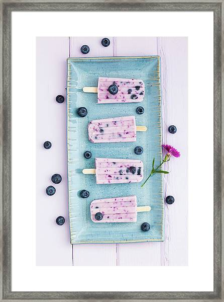 Blueberry Yogurt With Candy On Tray Framed Print