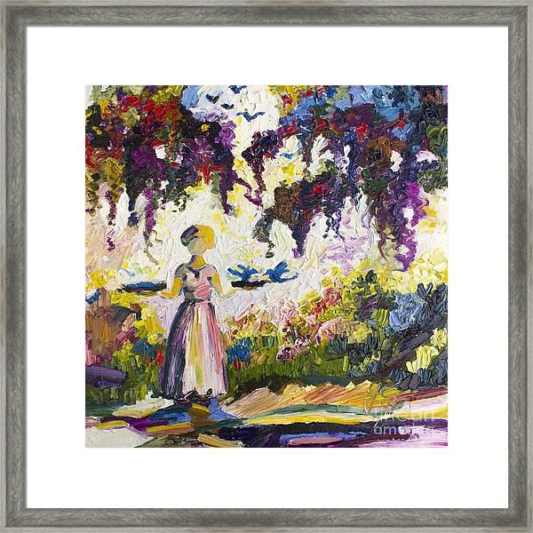 Bluebirds In The Garden Of Good And Evil Savannah Framed Print