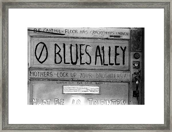 Blues Alley Framed Print