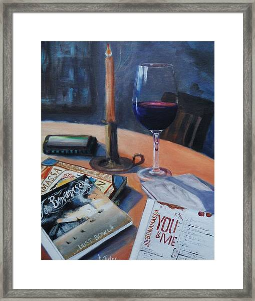 Blues And Wine Framed Print