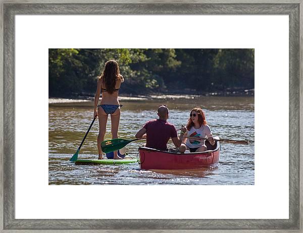 Board And Canoe In Vermillionville Boat Parade Framed Print