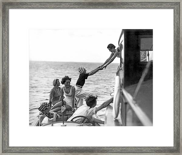 Boarding A Fishing Cruiser Framed Print
