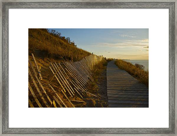 Boardwalk Overlook At Sunset Framed Print
