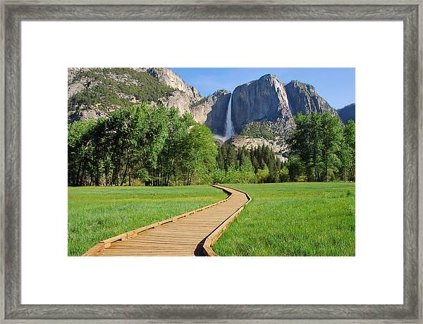 Boardwalk To Yosemite Falls  Framed Print