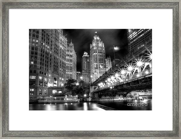 Boat Along The Chicago River Framed Print
